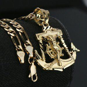 """Jesus Anchor 14k Gold PT Pendant 5mm 18"""" Necklace"""